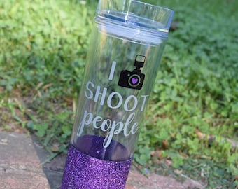 FREE SHIPPING, Photographer Gift, Photography Gift, Funny Photography Gift, Skinny Tumbler, Glitter Tumbler, Photographer, I Shoot People