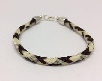 8 Inch Sorrel/White Horse Hair Braided Horsehair Bracelet - 6MM Round Braid