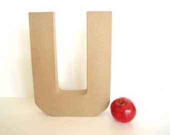 "Paper Mache Letter U (12"" tall) - Ready to Decorate Blank Letter, Home Decor, and more"