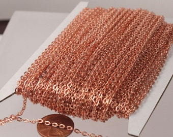 NEW Sale 50ft. of Bright Copper Plated Flat Cable Chains - 3x2.2mm unsoldered