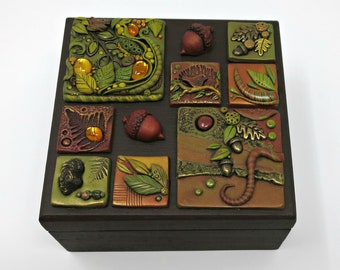 Jewelry Box, Trinket Box, Forest, Mosaic Tiles with Vintage Glass Cabochons, Wood and Brass Embellishments, Treasure Box