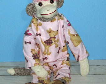Girl Rockford Red Heel ,Sock Monkey, Pink Hair Puppy Dog Pajamas, with Slippers  Hand Made