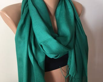 SOFT Pashmina Scarf, Emerald Green Winter Scarf, Fashion Green Scarves, Pashmina Scarf, Jade Green Scarf, Gift For Mom, Easter Gifts,