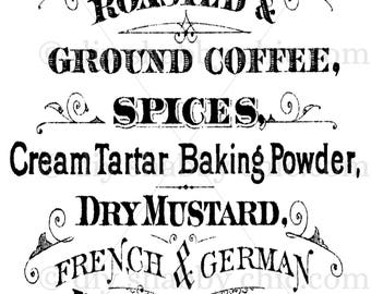 Furniture Decals Shabby Chic French Image Transfer Vintage Coffee Spices  Dry Mustard Label Script Art Crafts Scrapbooking Card Making Diy