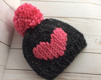 Baby Heart Hat - 0-6 Months - Ready-to-ship