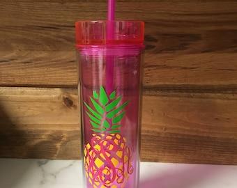 Pineapple Monogram Skinny Tumbler, Personalized Skinny Tumbler, Pineapple Skinny Tumbler, Personalized 16 Oz BPA Free Skinny Tumbler