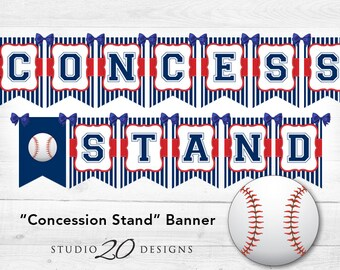 Instant Download Baseball Baby Shower Banner, Baseball Concession Stand Banner, Blue Red Baseball Birthday Banner, Baseball Party Banner 68A