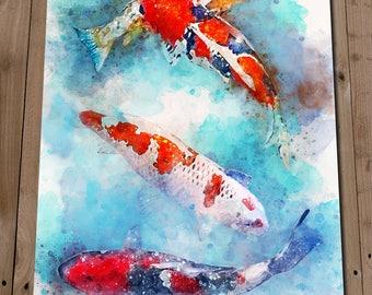 Koi Fish Painting Print - Japanese Carp Wall Art - Pond Fish Watercolour - Sea Life - Tank Home Decor - Gift Idea - Housewarming