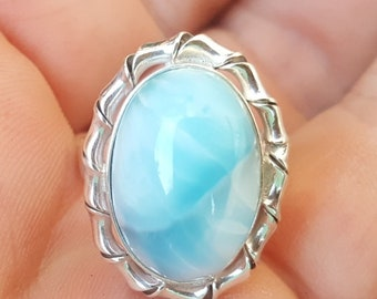 blue LARIMAR stone 925 sterling silver RING size 9 (AN-3)