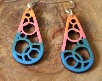 Earrings Teal boho wooden, Bold colorful teardrop dangles, Funky modern jewelry for modern woman, Unique gift for college girl fashion lover