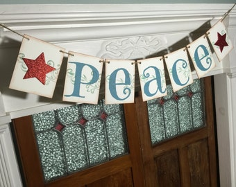 PEACE Banner, Rustic Christmas Banner, Peace Garland, Christmas Peace Banner, Holiday Photo Prop, Christmas Decoration