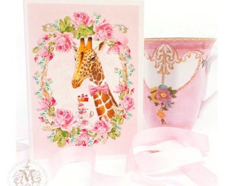 Giraffe card, birthday card, friendship card, pink roses and teacups, blank, all occasion card