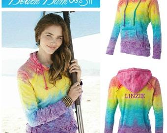 Rainbow Tie Dye Hoodie Sweatshirt Personalized Initial Monogram Gift Under 50 Dollars