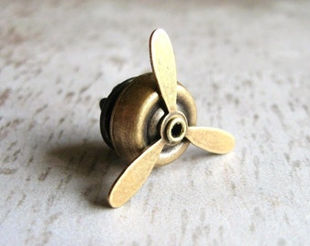 Aviator - Antiqued Brass Propellor Propeller Brooch Lapel Pin or Tie Pin Tie Tack with Gift Box