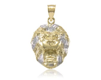 Lion head pendant etsy 10k solid yellow white gold lion head pendant face necklace charm aloadofball Choice Image