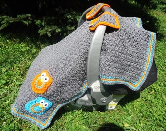 Owl Car Seat Cover Canopy for Baby Gray Orange Blue Handmade Crochet