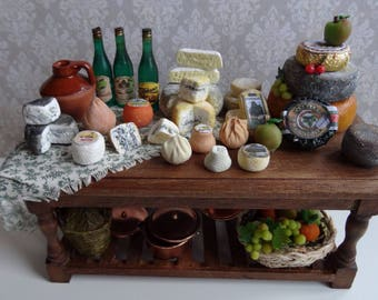 1:12 table of aged wood with Asturian cheeses, fruit, cider and tablecloth, miniature furniture, handicraft