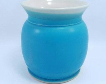 Handmade turquoise Ceramic Pottery Mug - turquoise blue handmade pottery ceramic clay mug tumbler