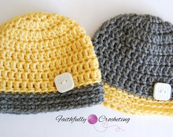 Newborn Twin Boy Hats… Photography Prop… Ready To Ship…Yellow and grey Button Beanies
