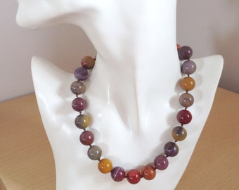 Mookaite Jasper Single Strand Knotted Collar Stone Necklace
