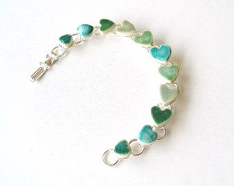 Emerald heart bracelet gift for her turquoise green ceramic hearts love words gift for her