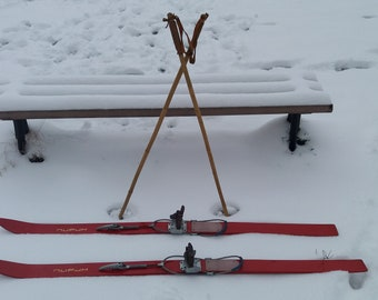 Vintage Wooden Ski with Bamboo Ski Poles