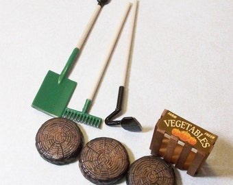 Fairy or gnome Garden miniature Garden Tools and accessories with wooden crate and stepping stones