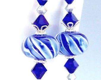 Royal blue earrings, lampwork glass, bridal jewelry, blueberry parfait, cobalt blue gift for her under 25 dollars
