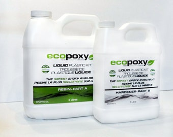Liquid Plastic 2:1 Ratio Ecopoxy Epoxy Resin 30 Litre Kit FREE US Shipping, River Tables, Pyramids, Deep Pour, Resin Tables