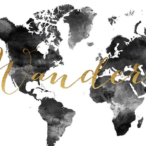 Wanderlust world map watercolor print world map poster wanderlust world map watercolor print world map poster travel map black white with faux gold text wedding guest book artprintsvicky gumiabroncs Image collections