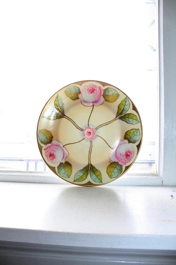 Antique Royal Rudolstadt Plate Art Nouveau Roses Hand Painted