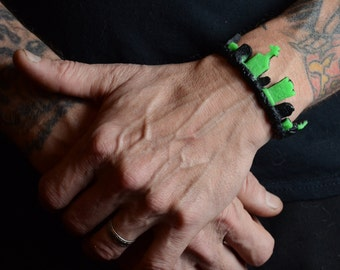 Gothic Jewelry - Cemetery Tombstone Bracelet  -green and black