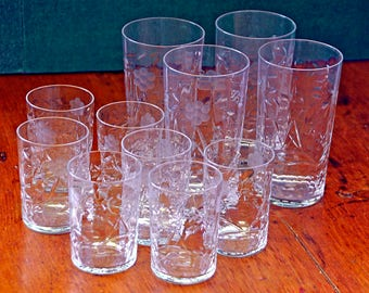 Vintage 1920-30s 11 CATARACT SHARPE GLASSES on Libby or Bryce Blanks – 4 Water Tumblers and 7 Juice Glasses, Excellent Condition