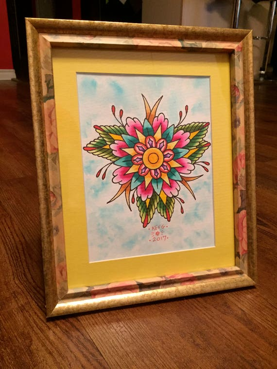 Floral Tattoo Watercolor Art painting framed Tattoo Flash