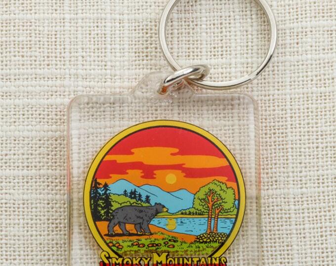 Vintage Smoky Mountains Keychain Tennessee Grizzly Bear Smokies Gatlinburg Dollywood Key FOB Key Chain 16U