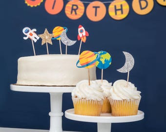 Trip to the Moon- Cupcake Toppers | Outer Space Decorations | Birthday | Baby Shower | Rocket, Planet Theme