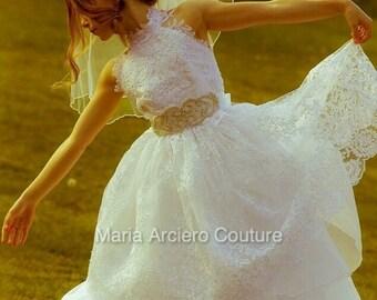 First Communion dress-2 ways to wear, lace communion dress