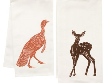 woodland friends organic tea towel set