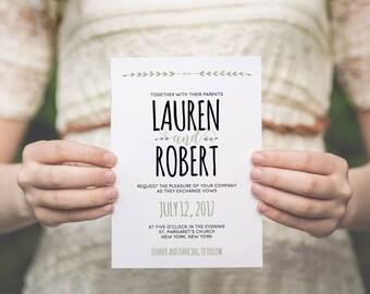 Hochzeit Einladung Vorlage handgeschrieben Hochzeit