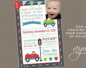 Cars 1st Birthday Invitation First Birthday Cars Invitation