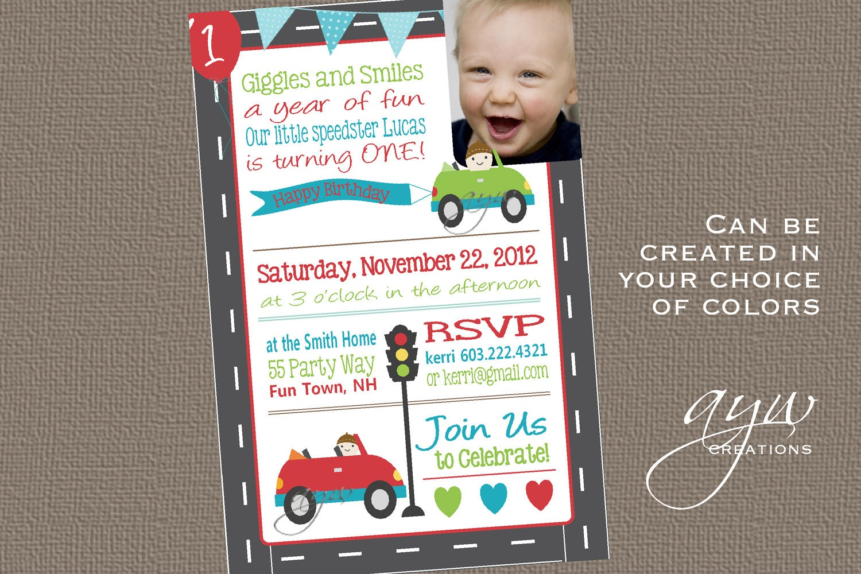 cars themed invitations