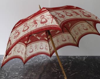 French vintage childs Parasol/Umbrella....Red and Ecru.