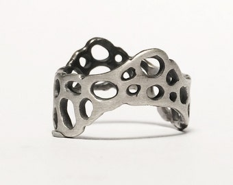 Porifera Wave - Cellular Structure Brutalist Ring - Sterling Silver - Handmade