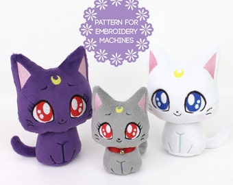 ITH In The Hoop embroidery machine design bundle - plush cat pattern Moon Kitty 4 faces 2 sizes some sewing kawaii plushie
