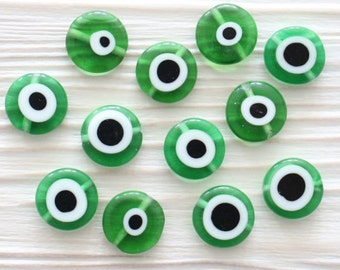 10pc-12mm green evil eye, emerald, round glass beads, glass beads, lamp work beads, evil eye beads, DIY, flat glass beads, good luck beads