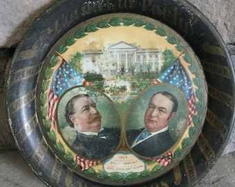 1908 Presidential Campaign Tip Tray (Taft and Sherman)