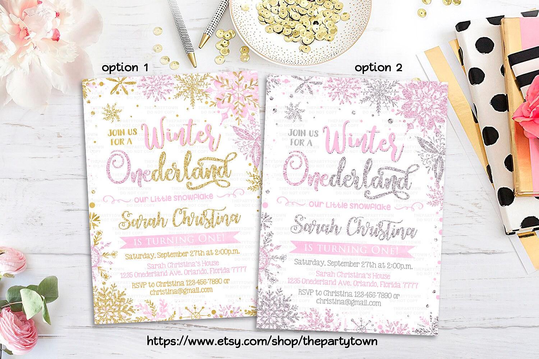 WINTER ONEDERLAND INVITATION Pink Silver First Birthday