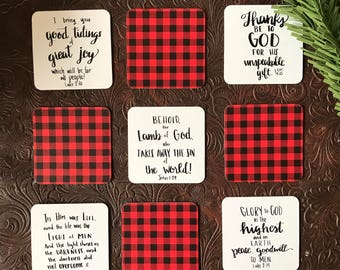 Christmas Ornament Set - Paper Christmas Ornament - Buffalo Check - Christmas Gift Tags - Red Ornaments - Plaid Ornaments - Bible Verse