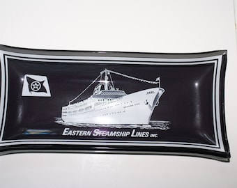 EASTERN STEAMSHIP LINES Glass Tray, Cruise Ship Souvenir