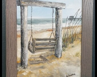"Beach Oil Painting, Tybee Island ""Beach Life,"" 8x10 framed"